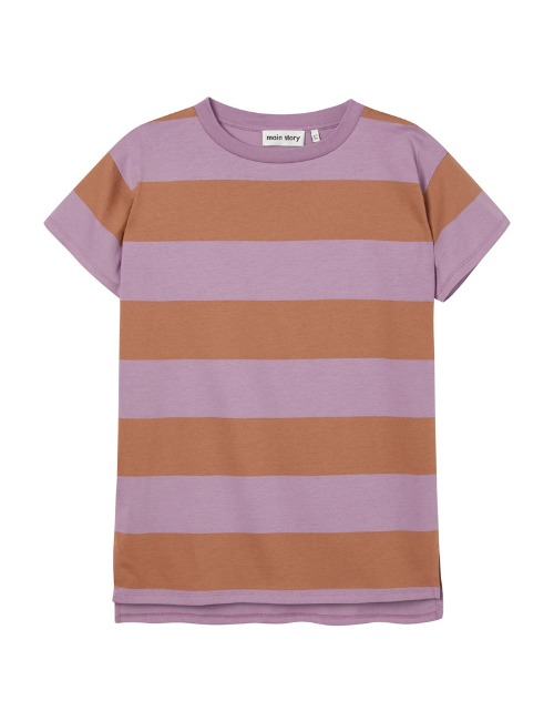 Oversized Tee Dress-Russet Stripe