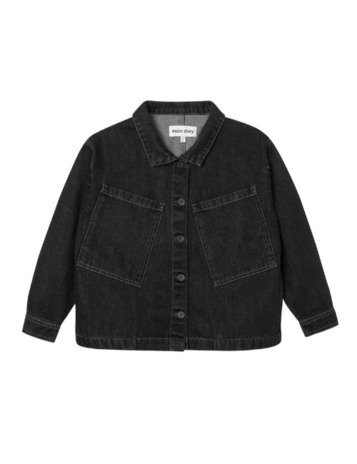 Oversized Jacket-Black Denim(last-8/9Y)