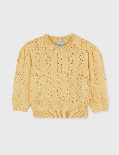 COTTON OPENWORK SWEATER-YELLOW