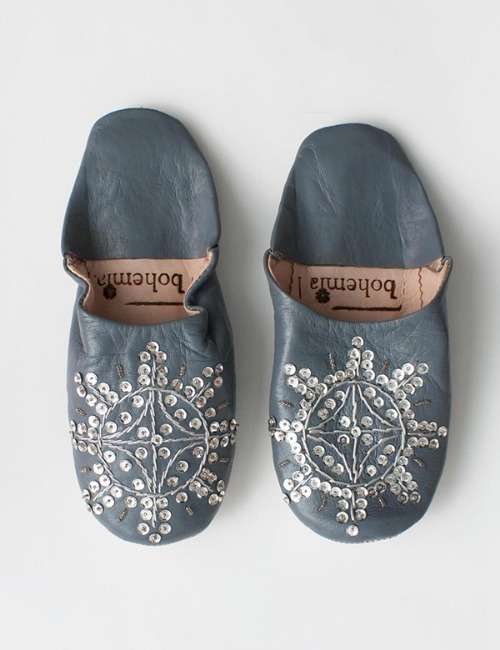 MOROCCAN BABOUCHE SEQUIN SLIPPERSSLATE
