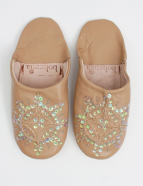 MOROCCAN BABOUCHE SEQUIN SLIPPERSCAPPUCCINO
