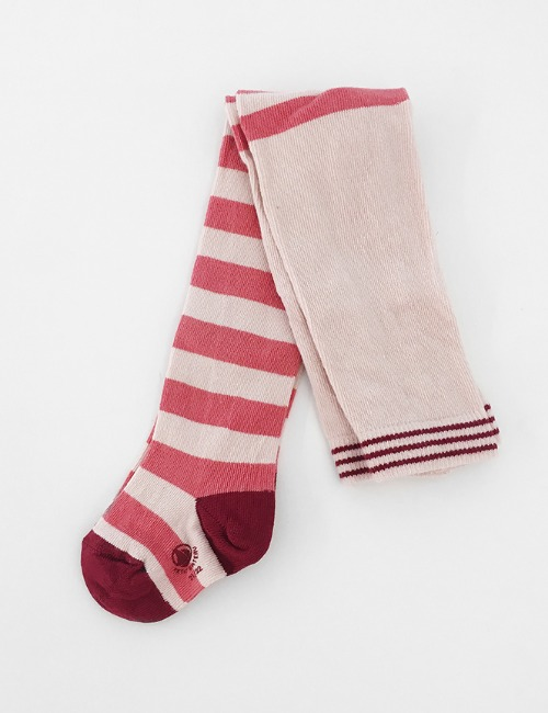 [50%]BABY RED/PINK STRIPE TIGHTS(12-24m)