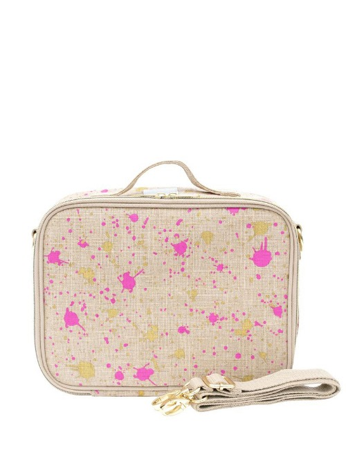 FUCHSIA AND GOLD SPLATTER LUNCH BOX