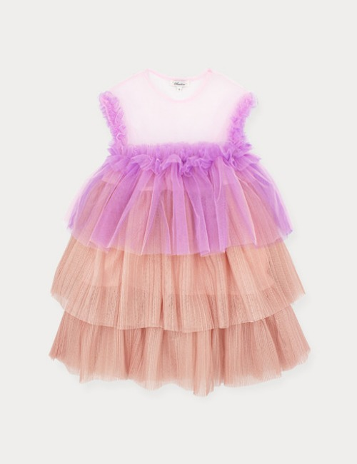 Colorful tulle dress-Pink