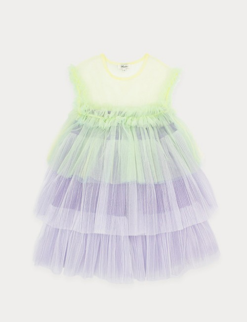 Colorful tulle dress-Yellow