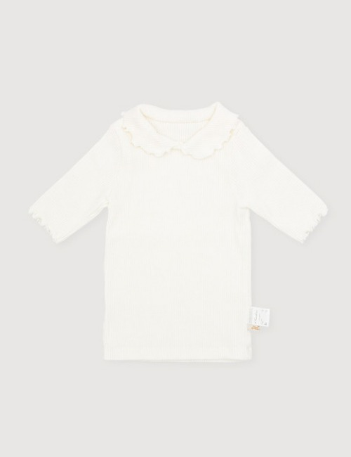 Wave collar T-shirt - ivory