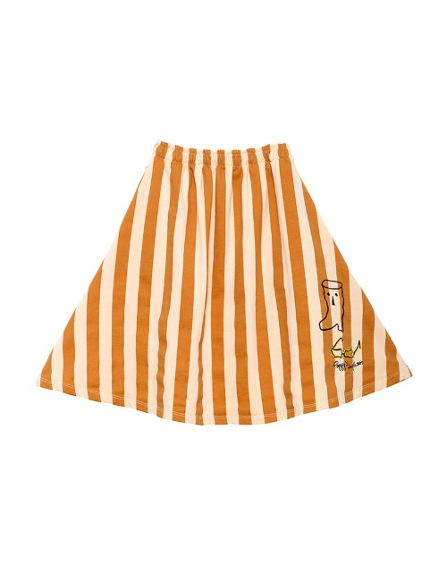 PEGGY SKIRT-ORANGE STRIPE