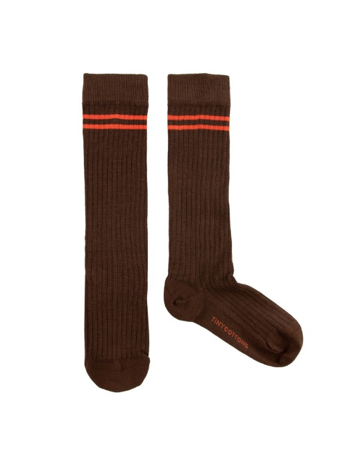 STRIPES HIGH SOCKS-BROWN