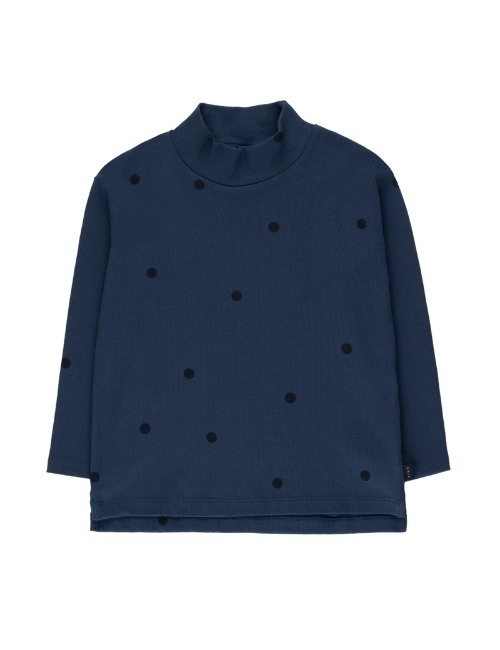 """DOTS"" MOCKNECK TEE - LIGHT NAVY"