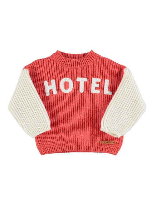 Knitted sweater | Orange & ecru w/ embroidery