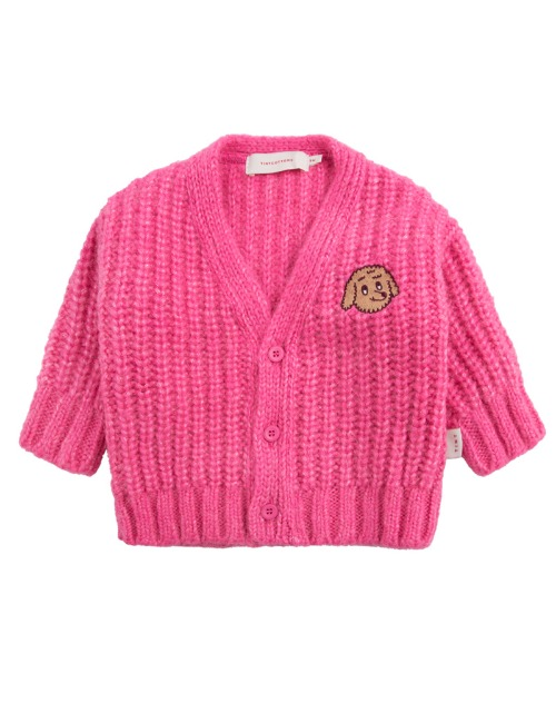 CHUNKY KNIT CARDIGAN-BUBBLE GUM