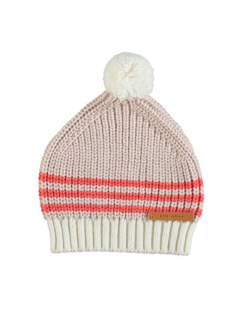 Knitted hat w/ pompon| Pale pink, orange & ecru
