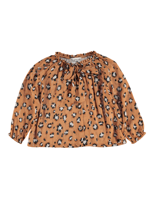 Shirt w/ big bow | Caramel animal print
