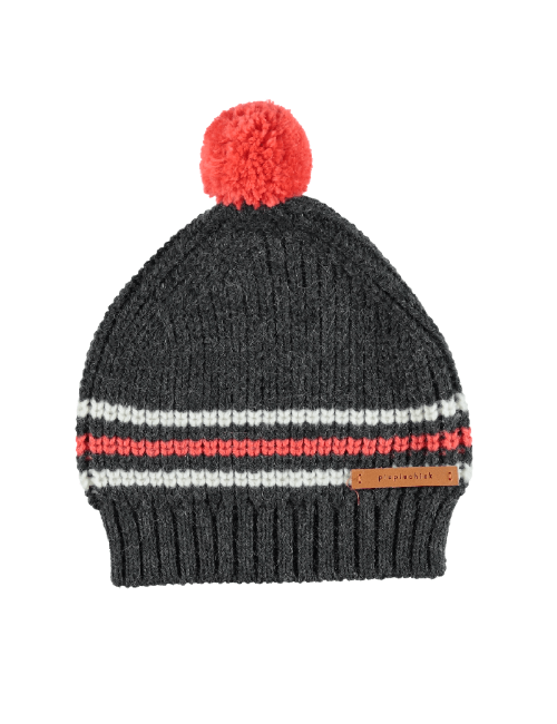 Knitted hat w/ pompon | Grey, orange & ecru