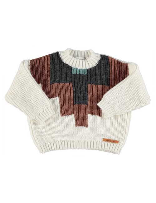 Knitted sweater | Ecru w/ multicolor pattern