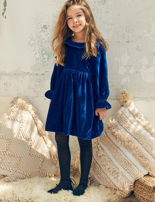 Esra Dress Blue Velvet