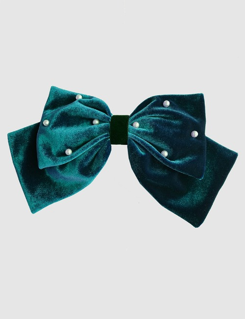 Velvet Bow hairclip-green