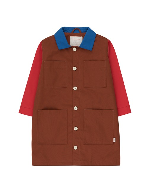 TINY COLOR BLOCK PARKA-BROWN